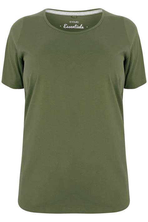 khaki scoop neck basic t shirt plus size 16 to 36
