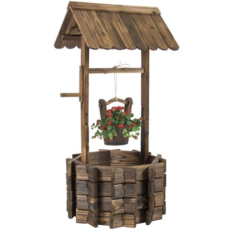 home and garden decor wooden wishing well flower planter patio garden