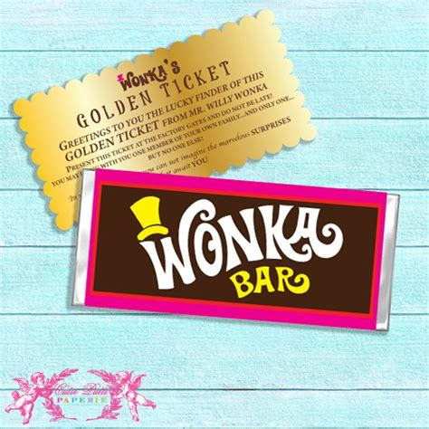 willy wonka printable chocolate bar wrappers by