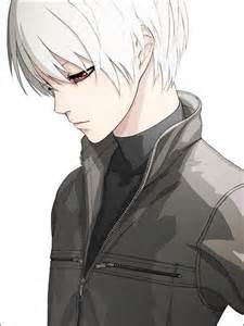 Hair anime boy with short white hair and black clothes white boy