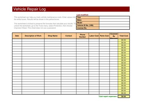 tools free vehicle repair log printable organizational tools