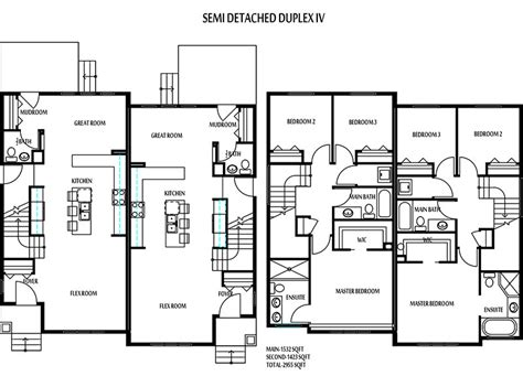 semi duplex house plans semi detached house plans numberedtype