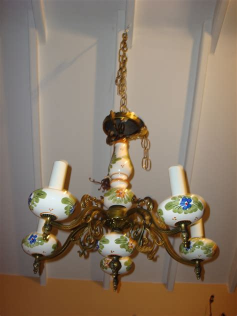 Vintage Porcelain Chandelier Vintage Porcelain Chandelier Five 5 Arms The Callabash