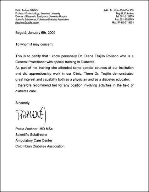 Recommendation Letter In Field recommendation letter for doctors sle cover letter