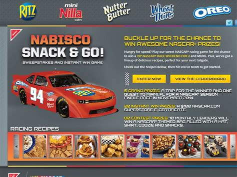 Race To 100 Sweepstakes - nabisco s snack go nascar race sweepstakes sweepstakes fanatics