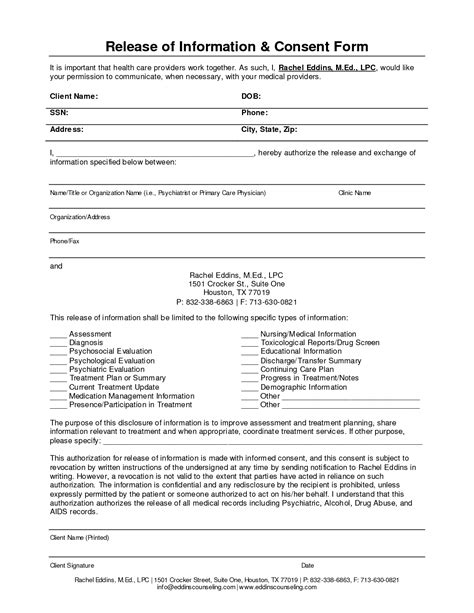 release of information form template best photos of health care forms templates mental health