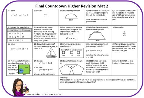 Mat Questions maths revision mats maths resources