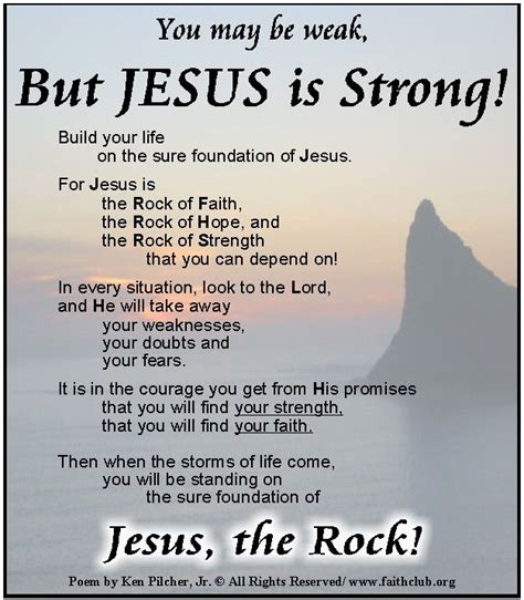 poems about being strong jesus is strong enough to