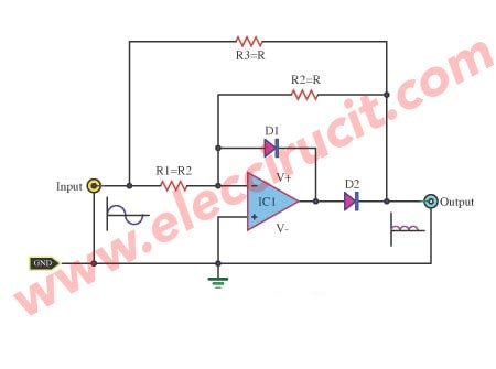 diode bridge op circuit wave rectifier with an op ic electronic projects circuits