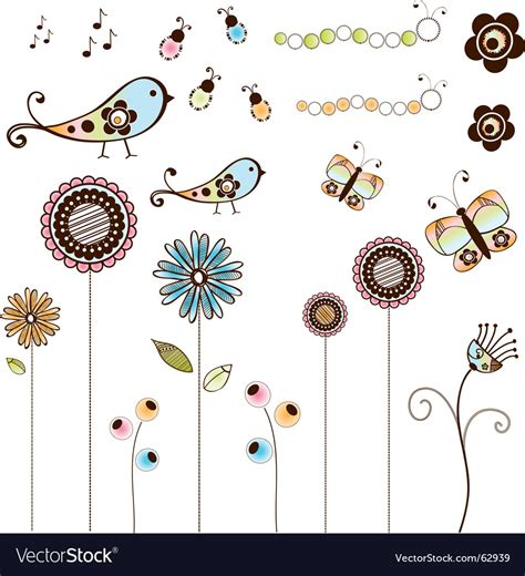 free doodle vector set doodle flowers and bugs set royalty free vector image