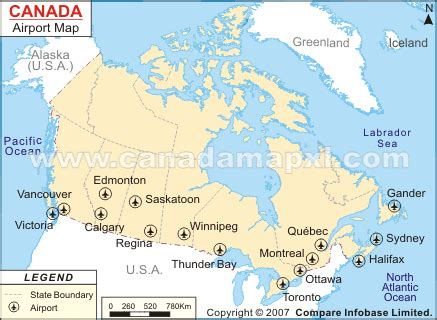 map of airports in usa and canada international airports in canada map
