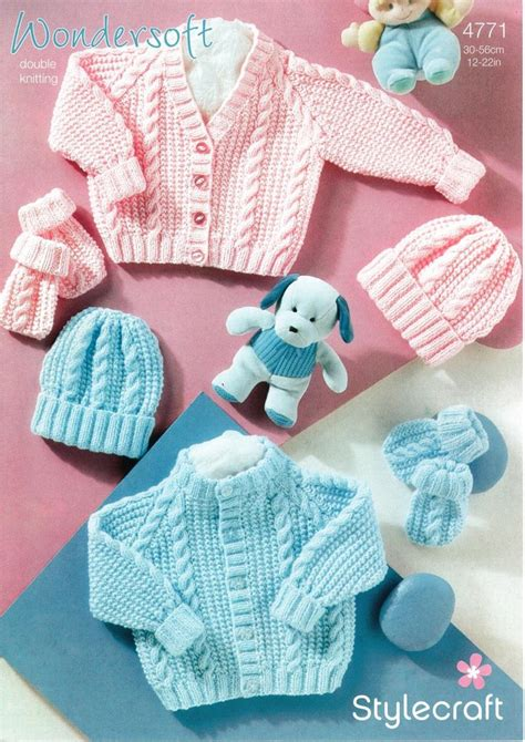 Stylecraft 4771 Knitting Pattern Babies Cardigan Hat And