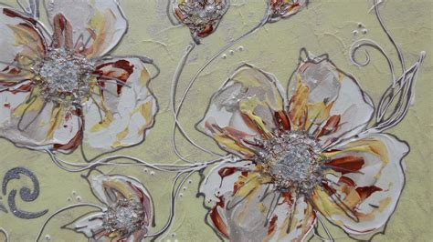 quadri con fiori in rilievo fiori in chiaro astratti 2 vendita quadri