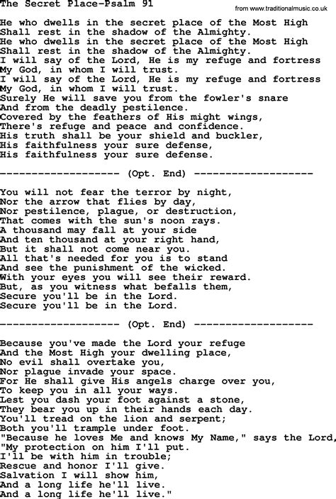 In The Secret In A Place Lyrics Hymns From The Psalms Song The Secret Place Psalm 91 Lyrics With Pdf