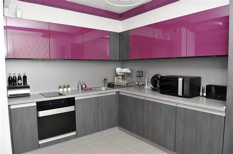 interior design ideas for kitchen color schemes modern purple cabinet design for small kitchen with grey color schemes antiquesl