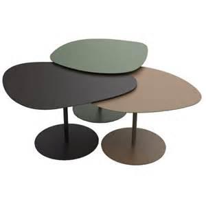 3 tables gigogne 3 galets matiere grise noir kaki