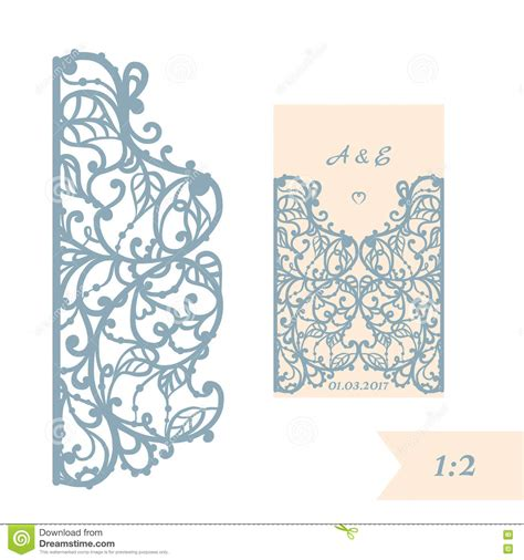 paper cards cut template wedding invitation or greeting card with abstract ornament