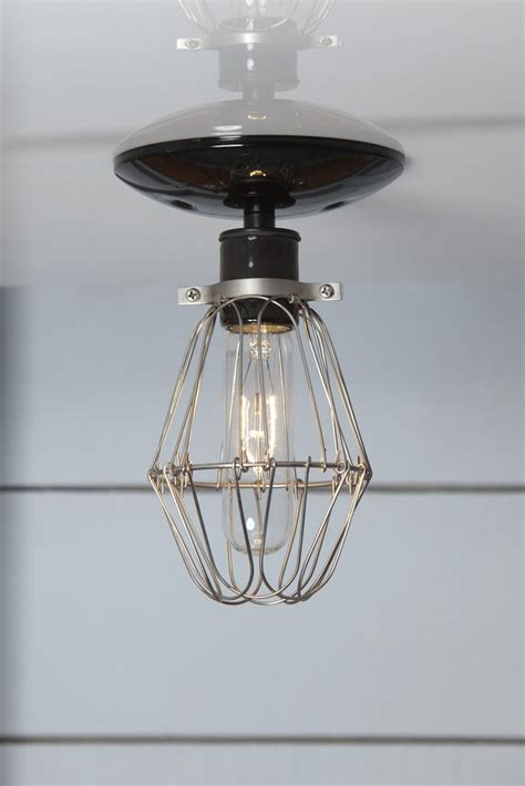 Industrial Filament Bulb Ceiling Mount Light Fixture Modern Farmhouse Style Jefferson 6in by Vintage Wire Cage Light Ceiling Mount Industrial Light Electric Crafted Lighting Made To