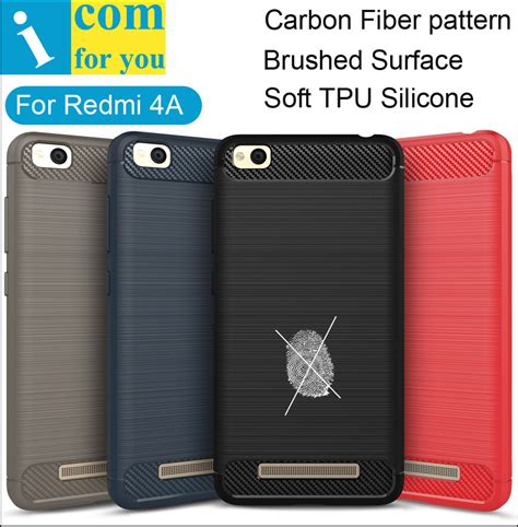 Xiaomi Redmi 4a Softcase Carbon Fiber carbon fiber tpu silicone cover for xiaomi redmi 4a anti hit shock proof matte frosted