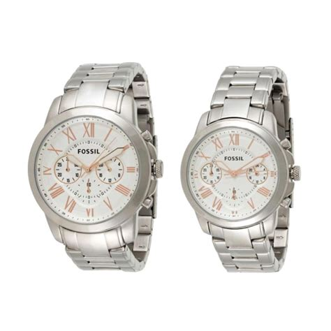 Jam Tangan Fossill Set Tanggal jual fossil his hers white stainless steel band