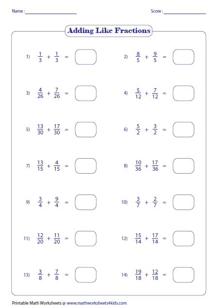 Adding And Subtracting Fractions Like Denominators Worksheet by Adding Fractions Worksheets