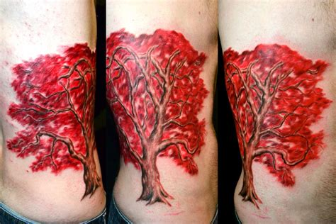 red tree tattoo japanese maple tree by el dugi lewis tattoonow