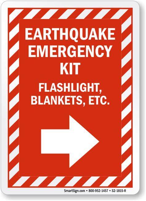 earthquake signs earthquake emergency kit right arrow sign sku s2 1815 r