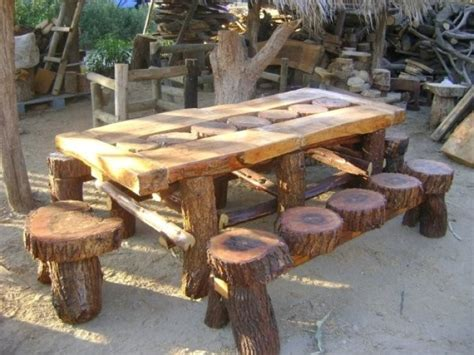 comedor de tronco de sauce estos muebles fueron hechos de