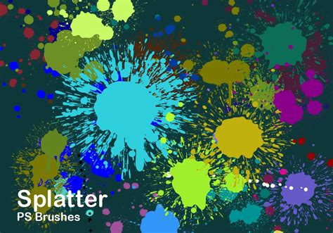 color splatter 20 splatter color ps brushes abr vol 2 free photoshop