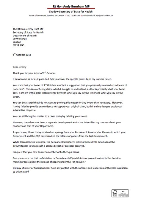 Apology Letter Because Of Illness andy burnham receives apology from department of health
