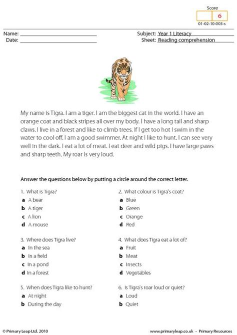 reading comprehension test year 2 reading comprehension i am a tiger primaryleap co uk