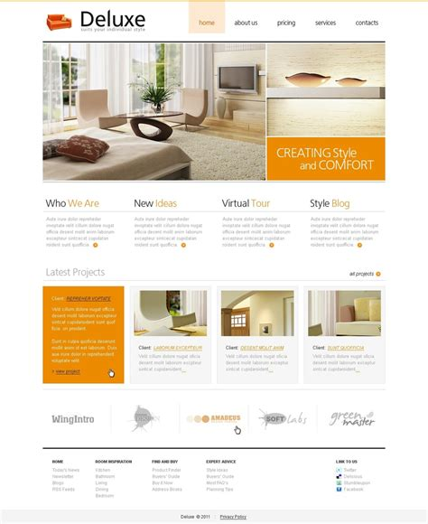 home interior design websites interior design website template 33208