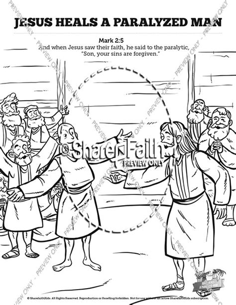 sunday school coloring pages jesus heals the sick free coloring pages of jesus heals paralytic