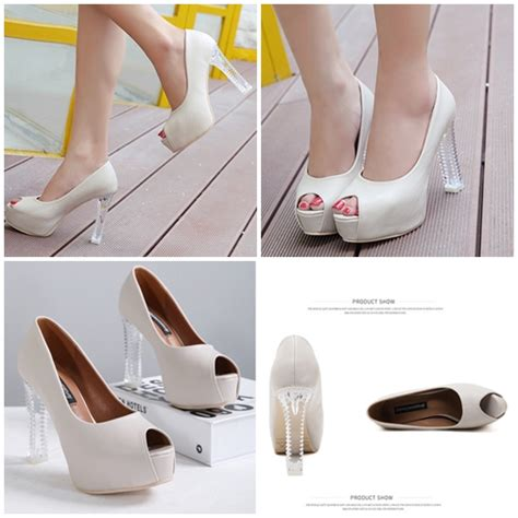 shh9773 heels transparan 11cm jual shh9773 white heels transparan 11cm