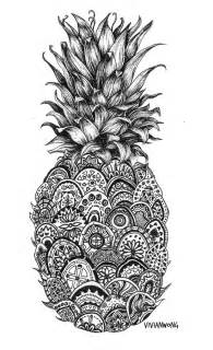pineapple zentangle black white drawing canvas print vivianhitsugaya society6