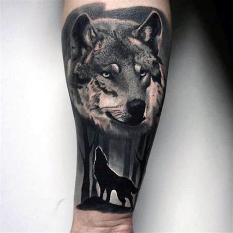 wolf tree tattoo 50 realistic wolf designs for canine ink ideas