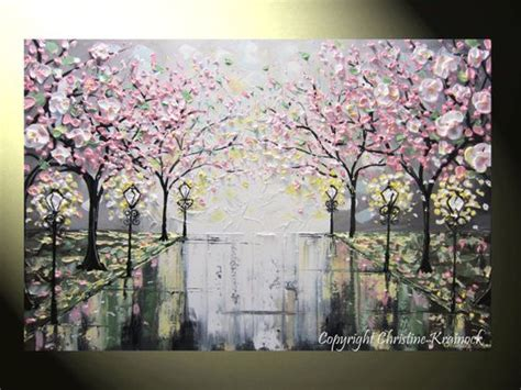 original abstract painting pink white cherry tree