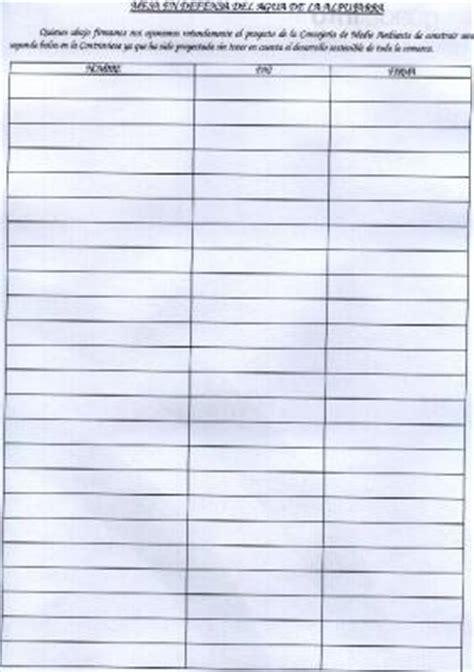 hoja de asistencia a reunion hoja de firmas mesa del agua