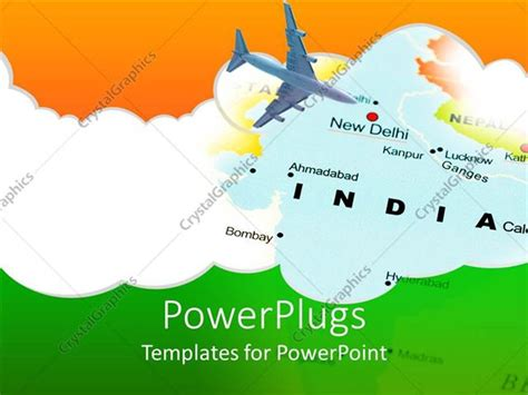 Powerpoint Template India New Dehli Air Travel Map With Airplane And Indian Flag Colors 12663 India Map Ppt Template