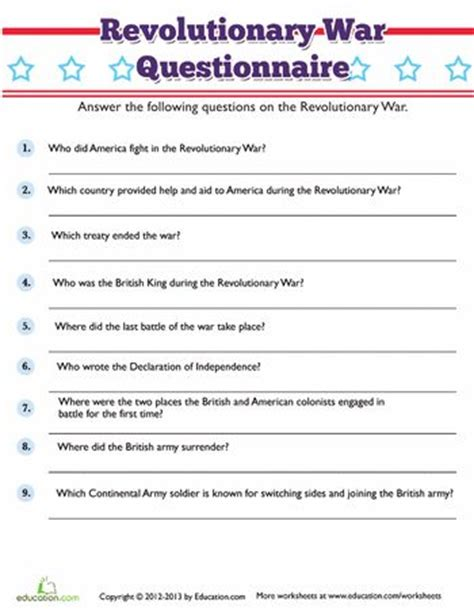 American Revolution Worksheets For by Revolutionary War Trivia War Trivia And Revolutionaries