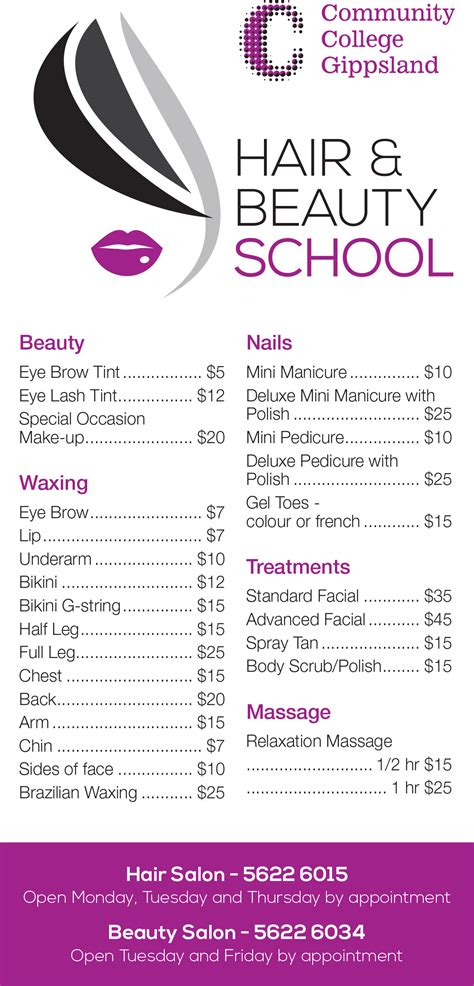 beauty price list ccg hair and beauty school salons