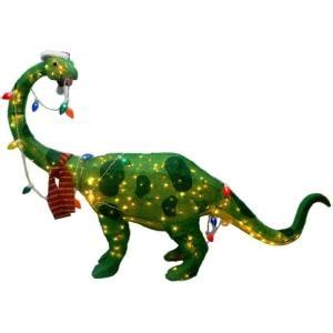 lighted dinosaur christmas decoration 66 in 200 light tinsel dinosaur ty020 1214 at the home depot