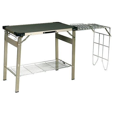 coleman outdoor furniture coleman 174 cooking station table 157523 patio furniture at sportsman s guide