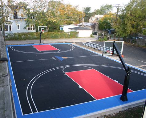 backyard basketball court tiles sport court cost with nice black and red basketball