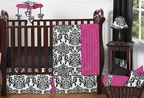 Pink And Black Crib Bedding Sets by Pink Black And White Baby Bedding