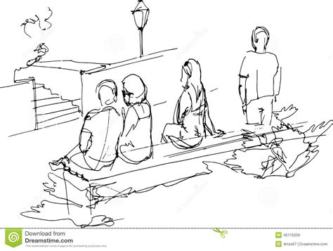park bench group group of people relaxing on a park bench stock vector image 45115209