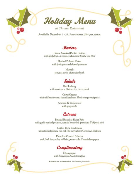 christmas holly buffet menu christmas menus