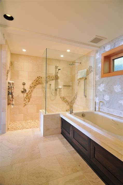 Kitchen Alcove Ideas by Doorless Walk In Shower Bathroom Contemporary With