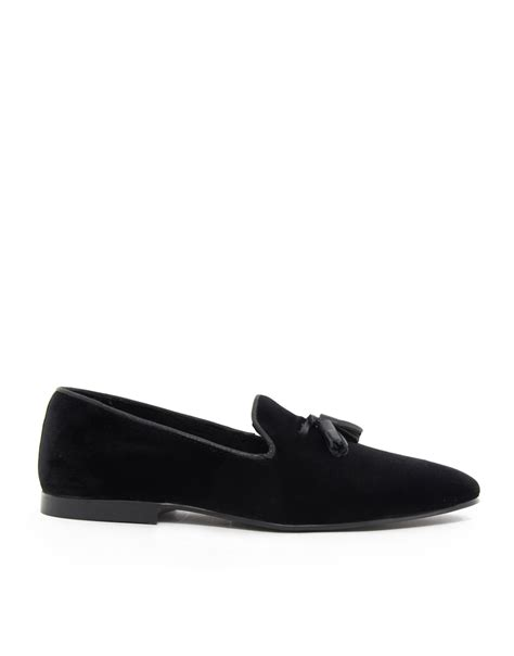black velvet loafers mens asos tassel loafers in velvet in black for lyst