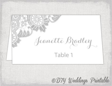 wedding place cards template for pages printable place cards template silver gray wedding place card